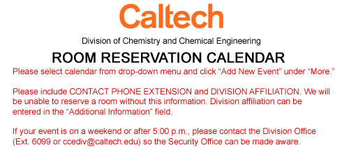 Caltech Calendar 2022.Meeting Facilities Division Of Chemistry And Chemical Engineering